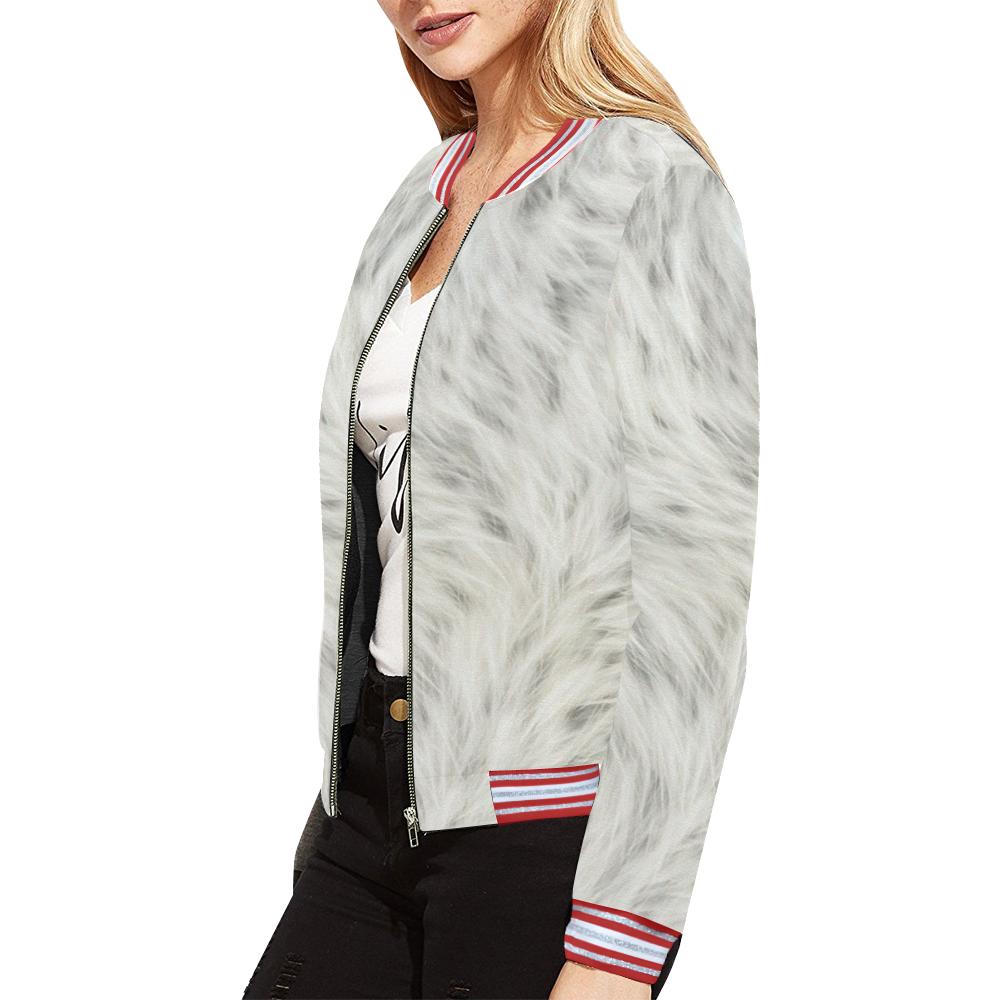 White Fur All Over Print Bomber Jacket for Women (Model H21)