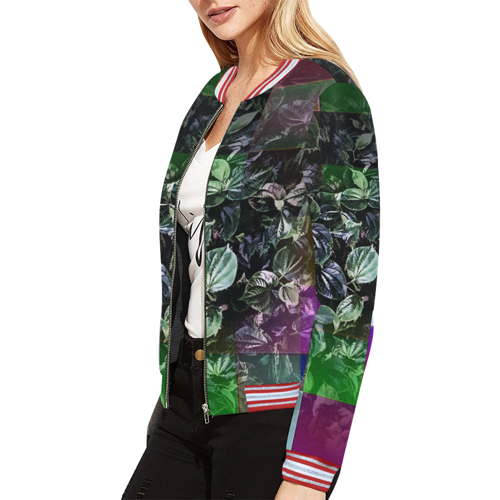 Foliage Patchwork #13 All Over Print Bomber Jacket for Women (Model H21)