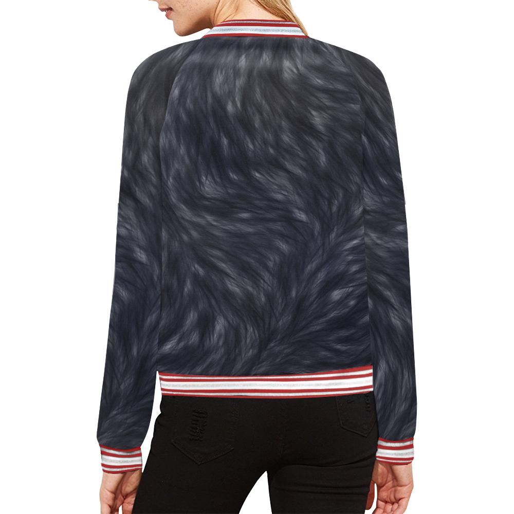 Black Fur All Over Print Bomber Jacket for Women (Model H21)