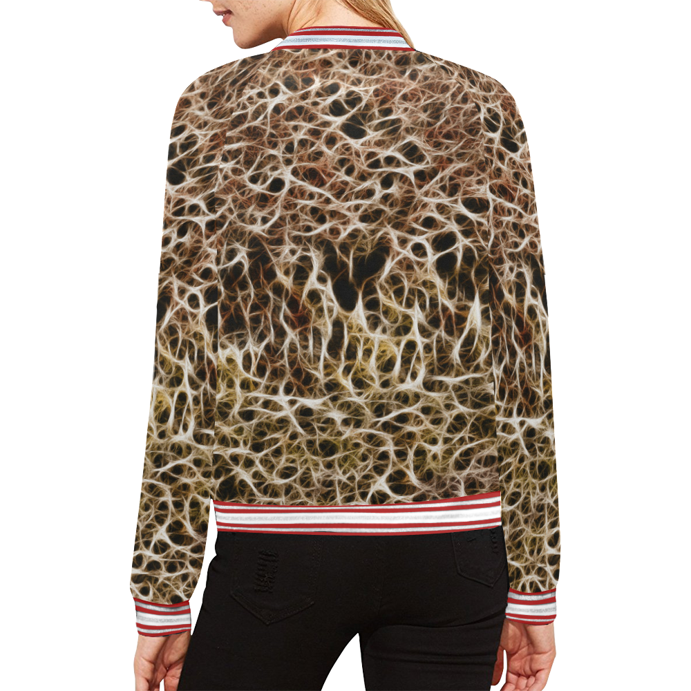 Misty Fur Coral All Over Print Bomber Jacket for Women (Model H21)