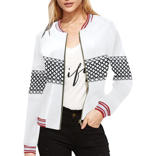 MIddi Black & White All Over Print Bomber Jacket for Women (Model H21)