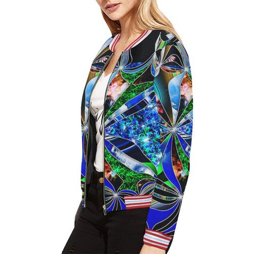 Mindworks Collage #8 All Over Print Bomber Jacket for Women (Model H21)