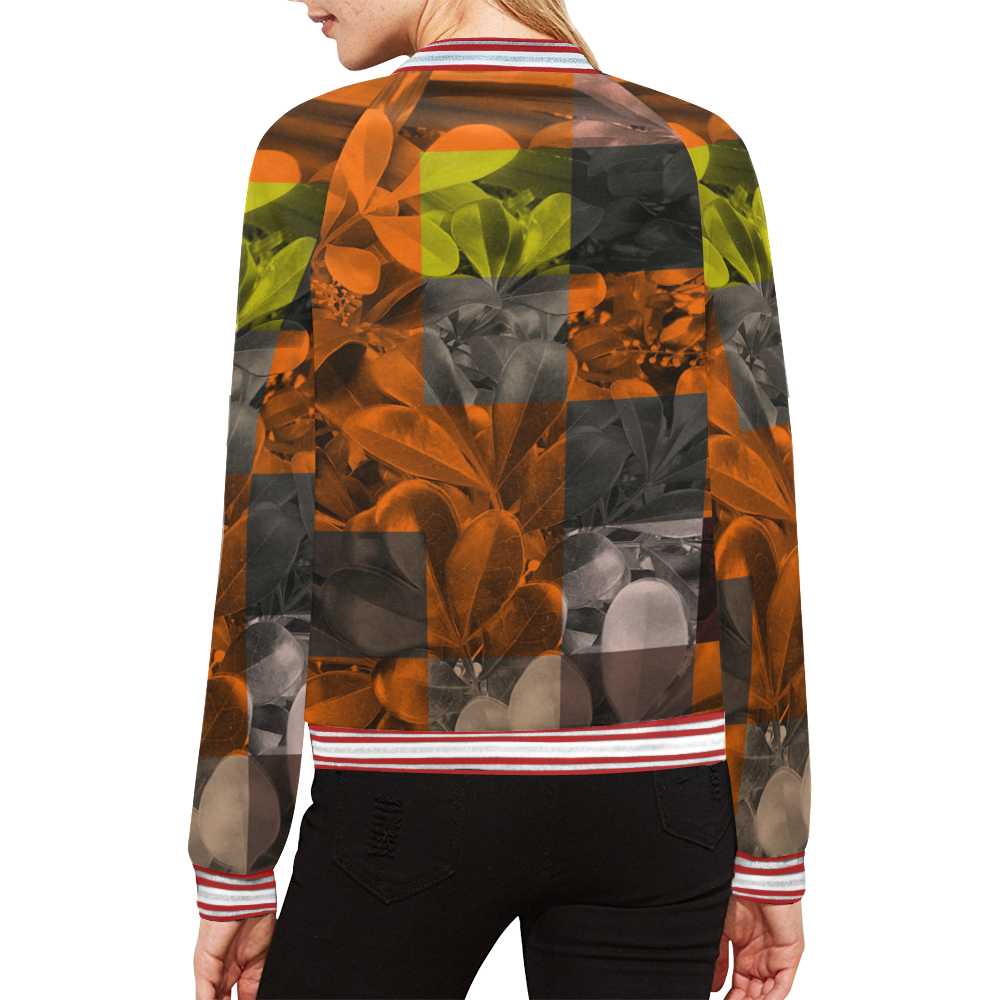 Foliage Patchwork #9 All Over Print Bomber Jacket for Women (Model H21)