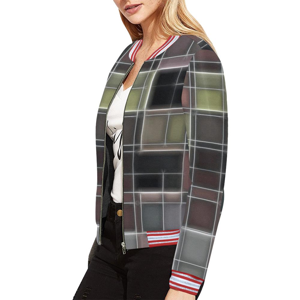 TechTile #1 All Over Print Bomber Jacket for Women (Model H21)