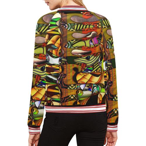 Mindworks Collage #6 All Over Print Bomber Jacket for Women (Model H21)
