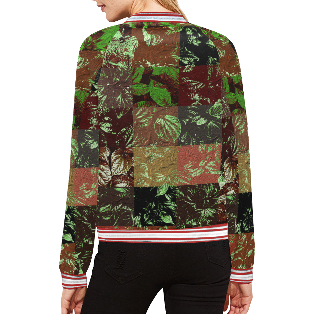 Foliage Patchwork #4 All Over Print Bomber Jacket for Women (Model H21)