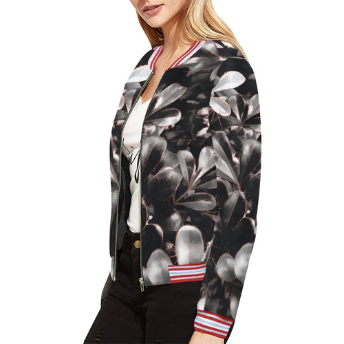 Foliage #1 Red Edge All Over Print Bomber Jacket for Women (Model H21)