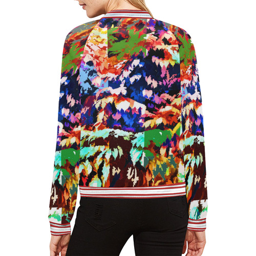 Foliage Patchwork #7 All Over Print Bomber Jacket for Women (Model H21)