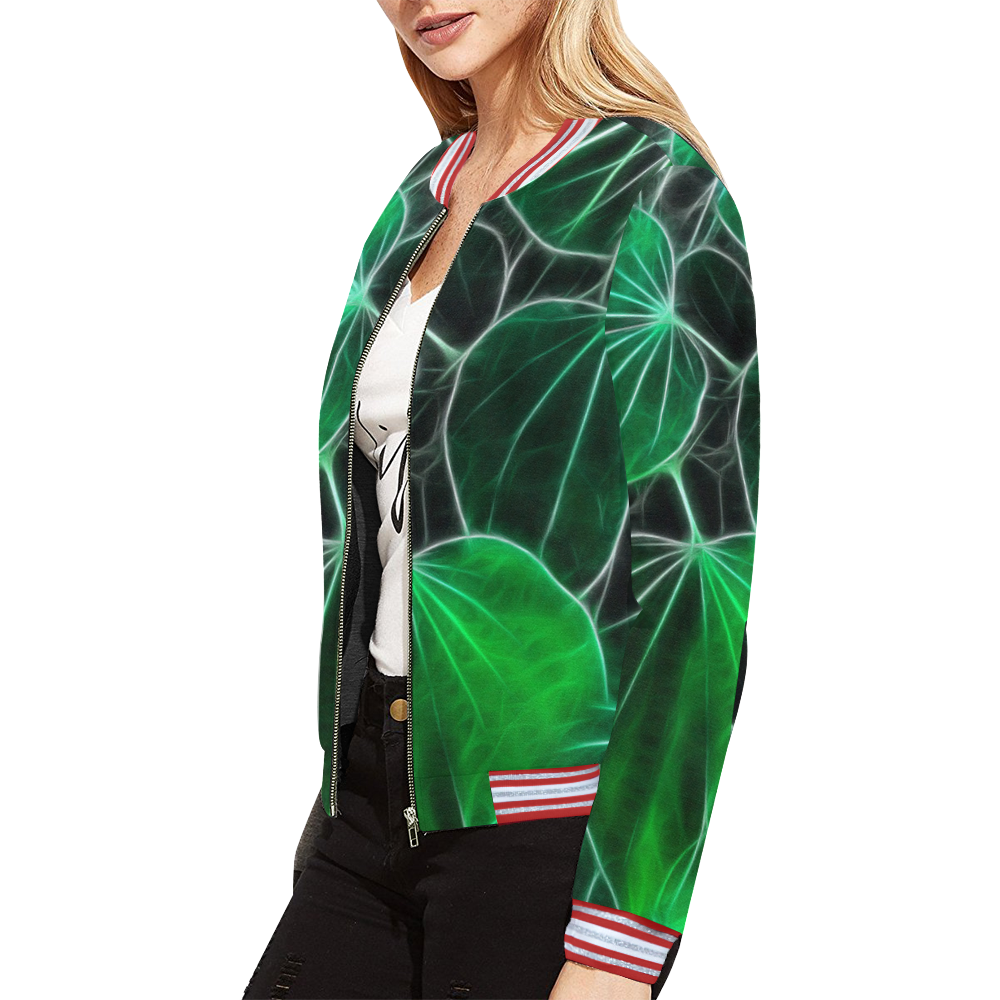 Foliage #9B All Over Print Bomber Jacket for Women (Model H21)