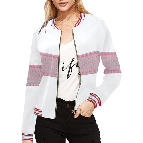 MIddi All Over Print Bomber Jacket for Women (Model H21)