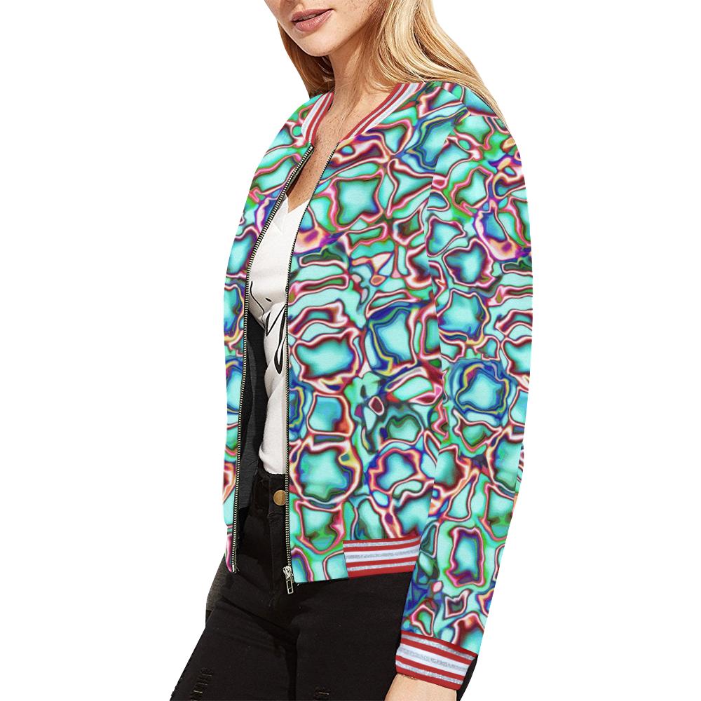 Blast-o-Blob #4 All Over Print Bomber Jacket for Women (Model H21)