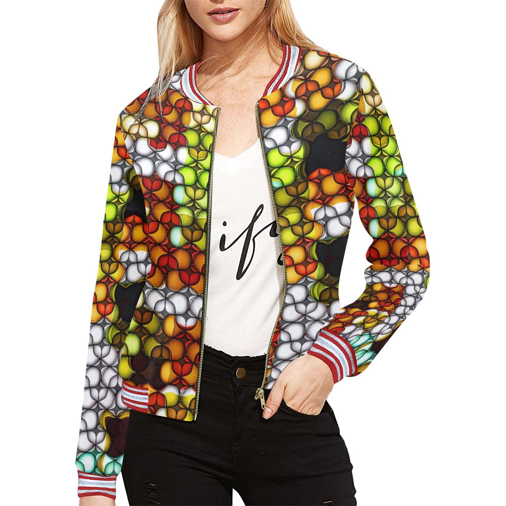 Blast-o-Blob #7B All Over Print Bomber Jacket for Women (Model H21)