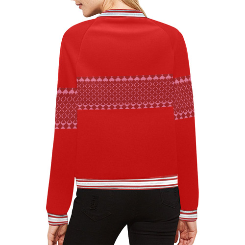 MIddi Red All Over Print Bomber Jacket for Women (Model H21)