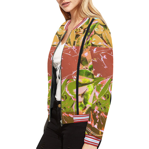 Foliage Patchwork #5 All Over Print Bomber Jacket for Women (Model H21)