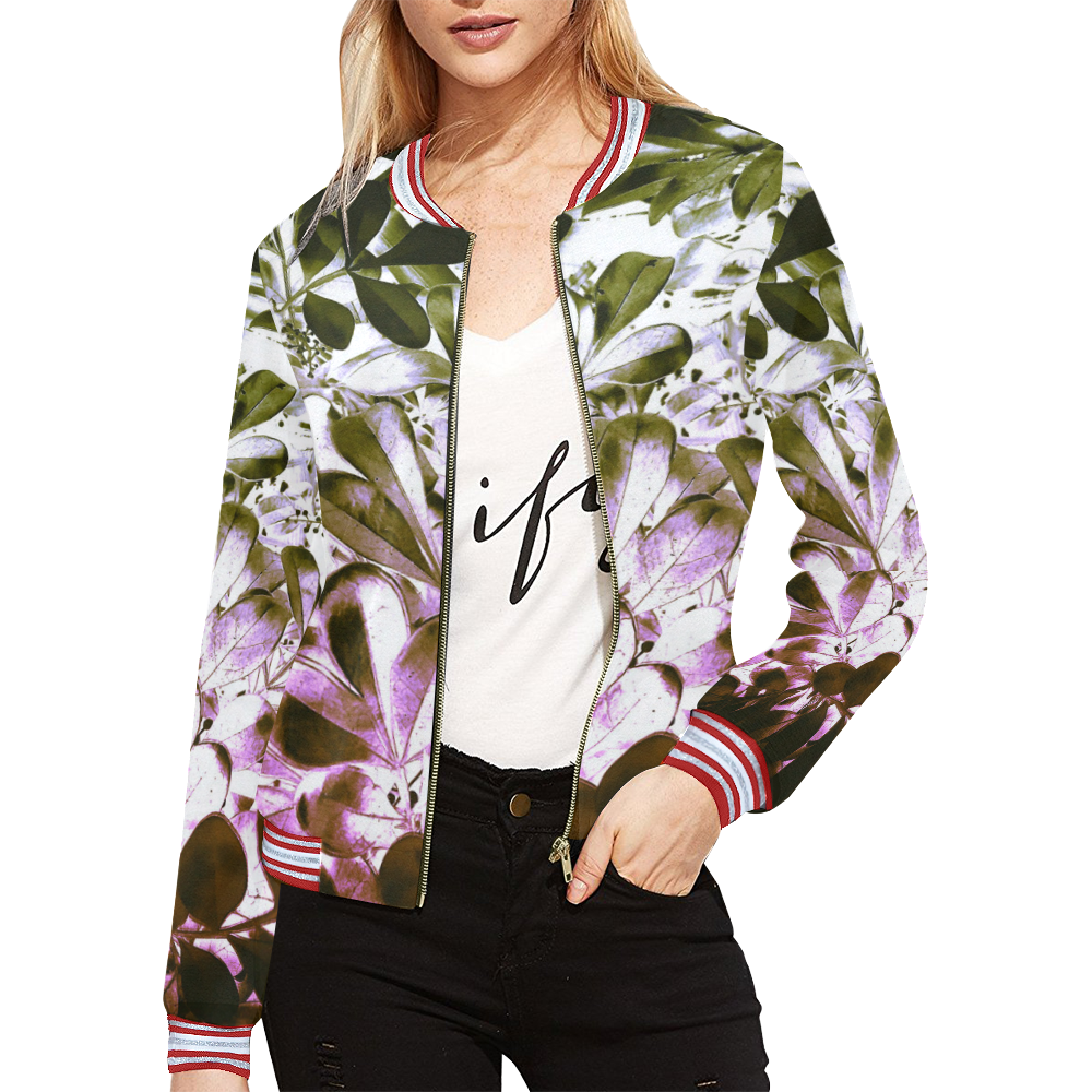 Foliage #4 All Over Print Bomber Jacket for Women (Model H21)