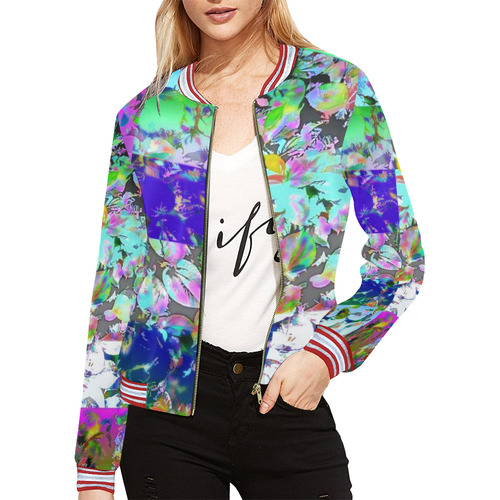 Foliage Patchwork #12 All Over Print Bomber Jacket for Women (Model H21)