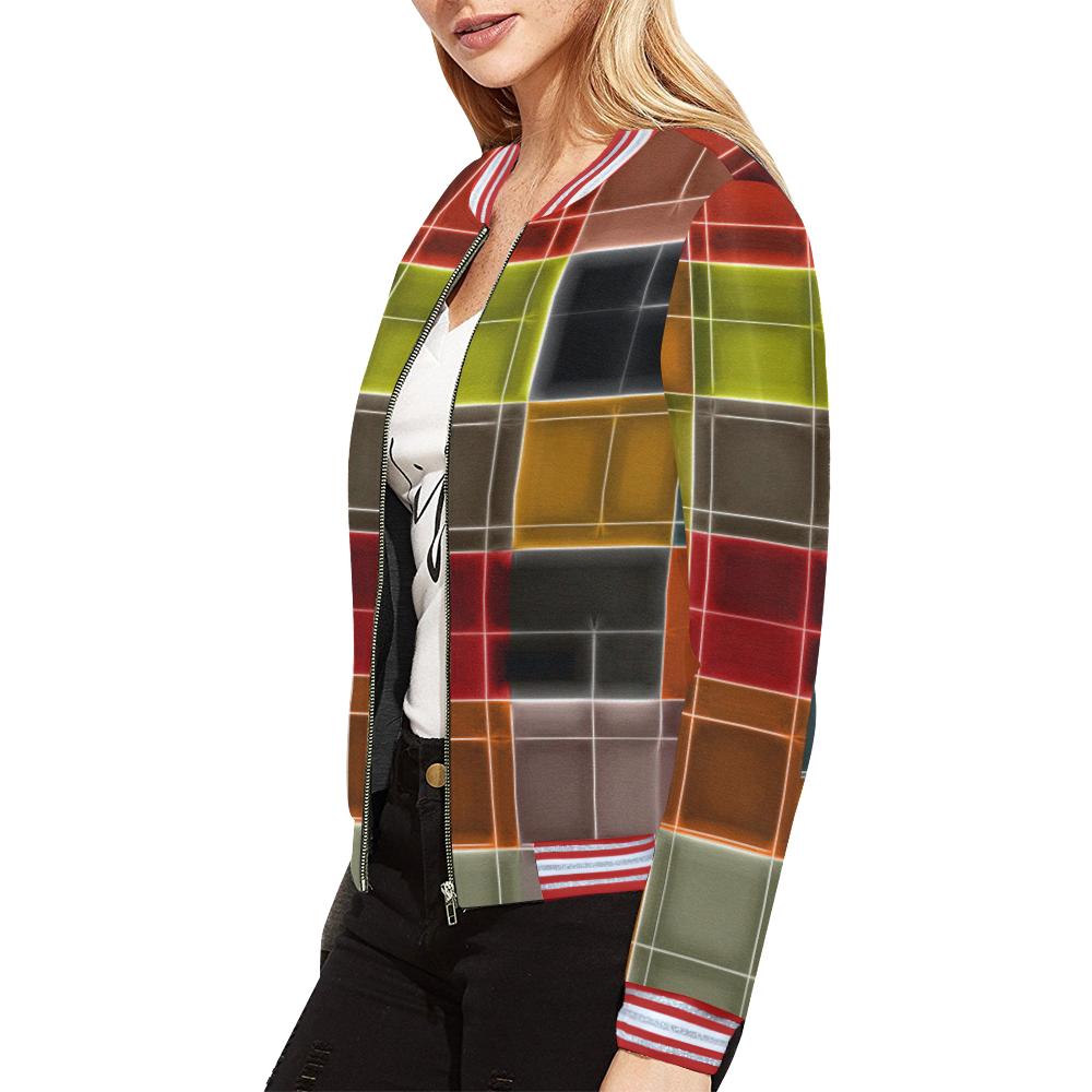 TechTile #2 All Over Print Bomber Jacket for Women (Model H21)