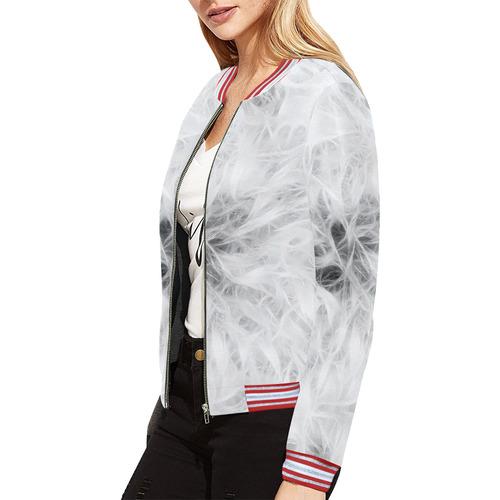 Cotton  Light All Over Print Bomber Jacket for Women (Model H21)