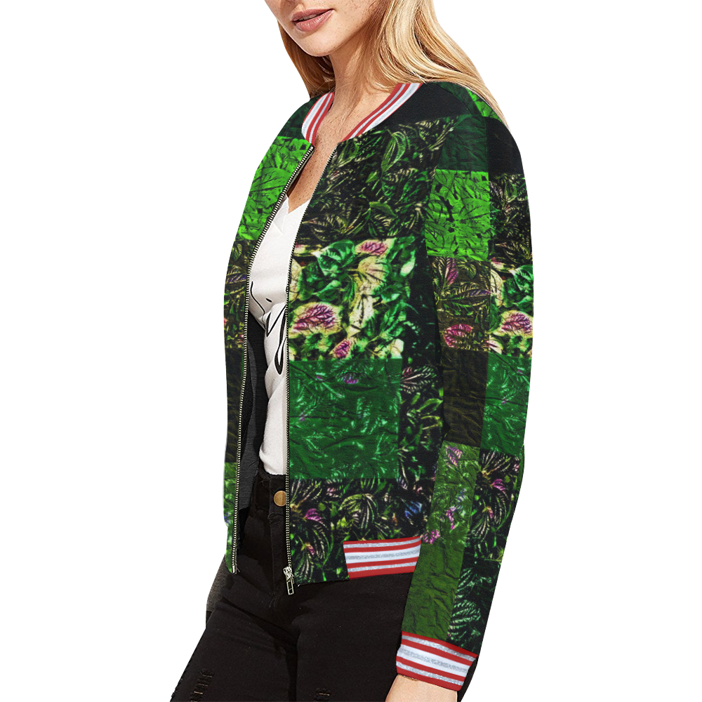 Foliage Patchwork #1 All Over Print Bomber Jacket for Women (Model H21)