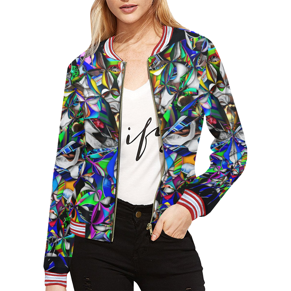 Mindworks Collage #13 All Over Print Bomber Jacket for Women (Model H21)