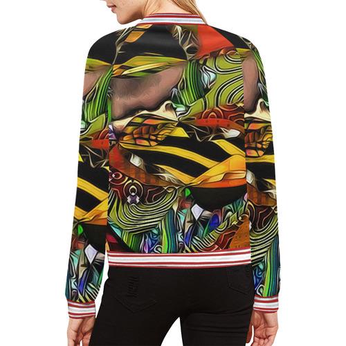 Mindworks Collage #7 All Over Print Bomber Jacket for Women (Model H21)