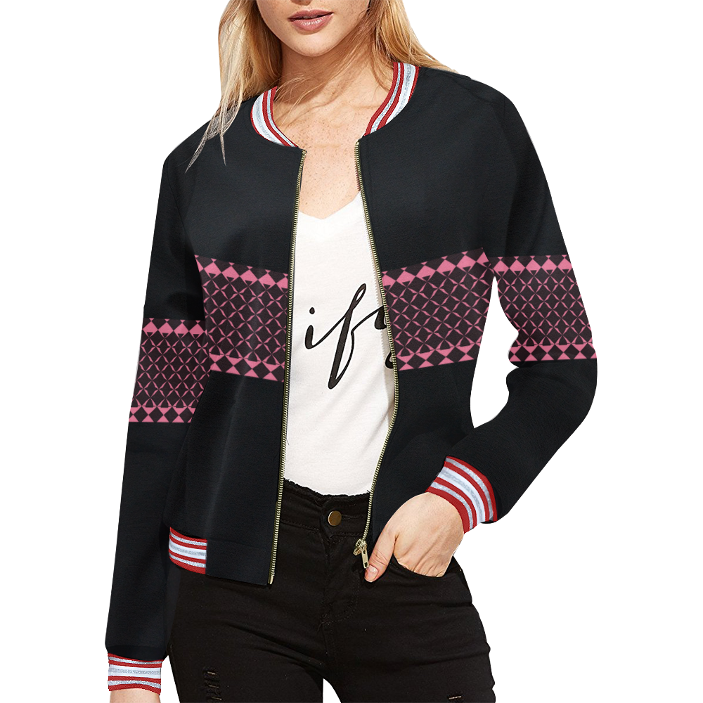 MIddi Pink All Over Print Bomber Jacket for Women (Model H21)