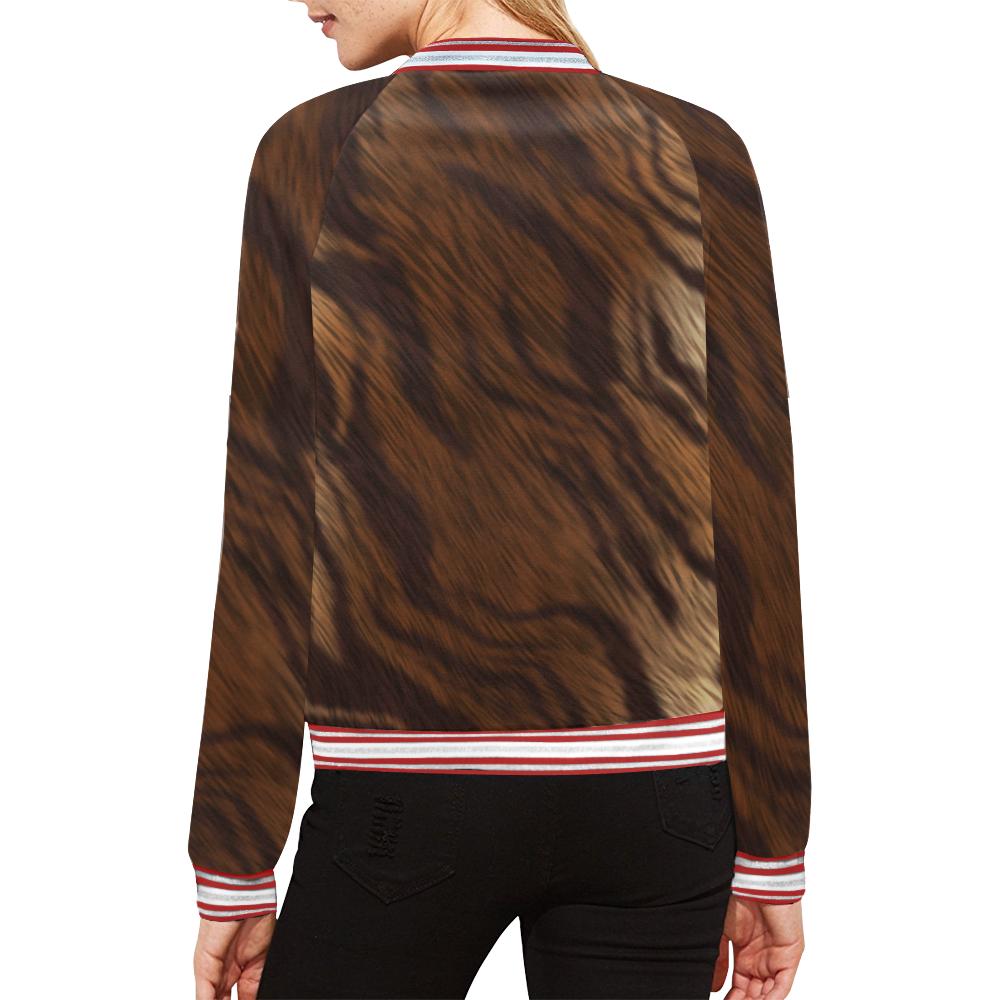 Animal Fur All Over Print Bomber Jacket for Women (Model H21)