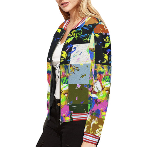 Foliage Patchwork #3 All Over Print Bomber Jacket for Women (Model H21)