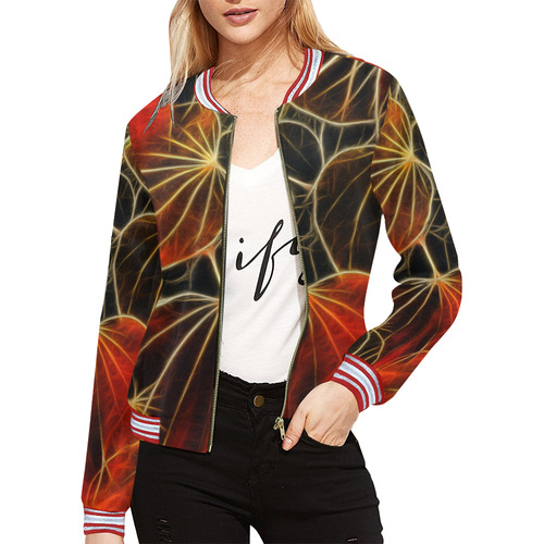 Foliage #9A All Over Print Bomber Jacket for Women (Model H21)