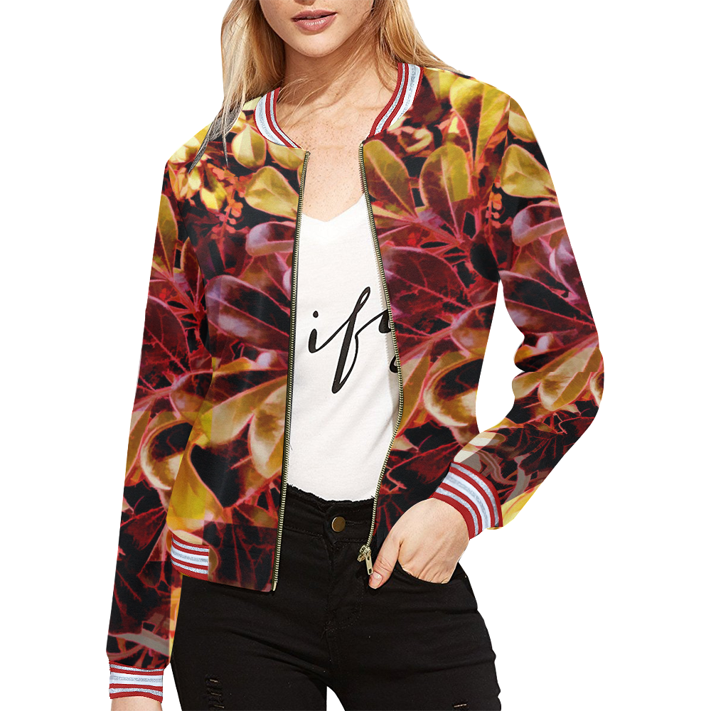 Foliage Patchwork #11 All Over Print Bomber Jacket for Women (Model H21)
