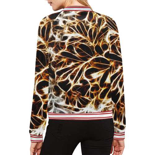 Foliage #10 Gold & Silver All Over Print Bomber Jacket for Women (Model H21)