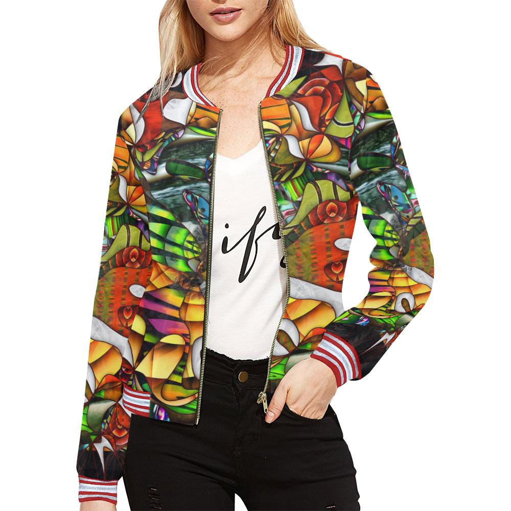 Mindworks Collage #5 All Over Print Bomber Jacket for Women (Model H21)