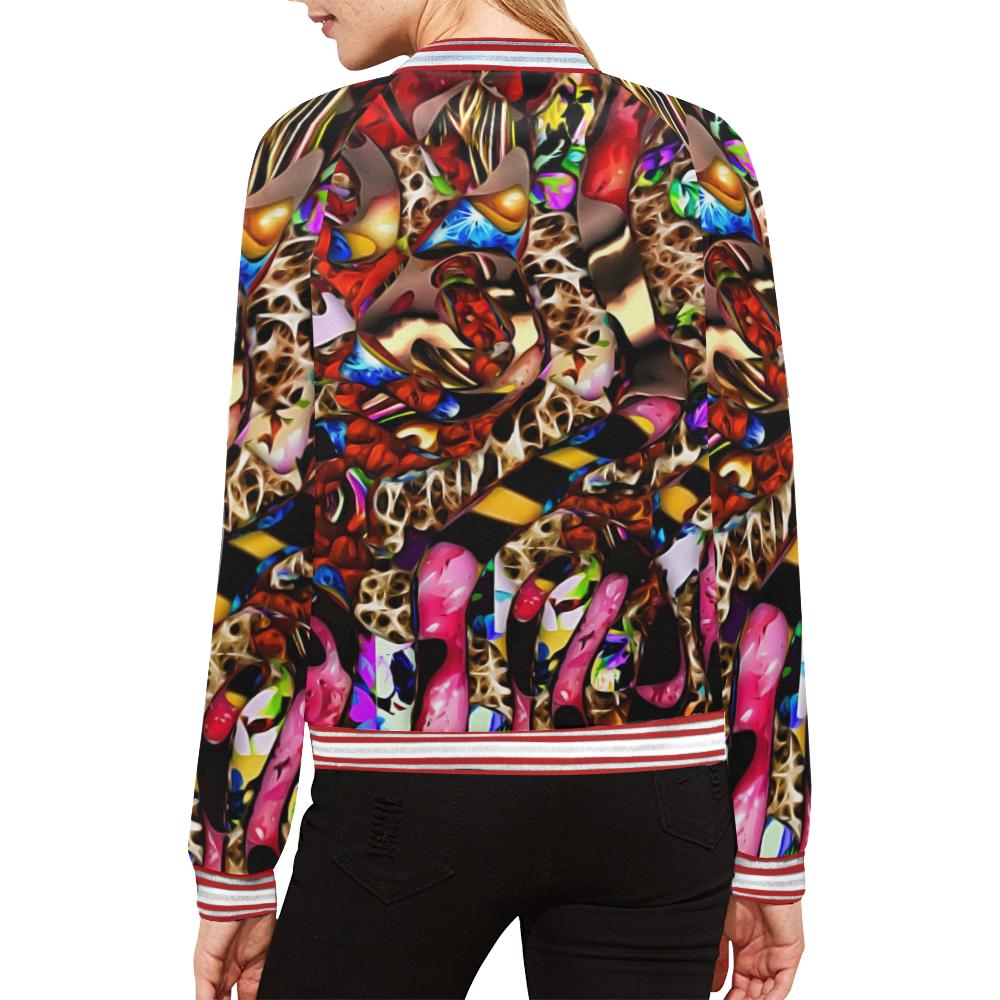 Mindworks Collage #2 All Over Print Bomber Jacket for Women (Model H21)