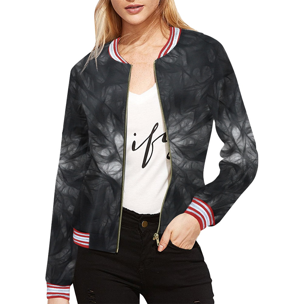 Cotton  Light (Black) All Over Print Bomber Jacket for Women (Model H21)