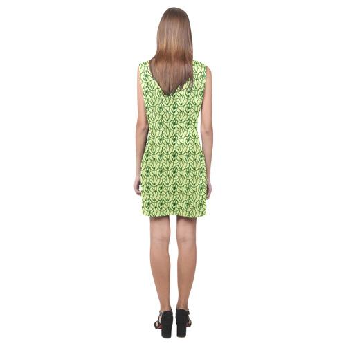 St Patrick's Day Clovers Phoebe Sleeveless V-Neck Dress (Model D09)