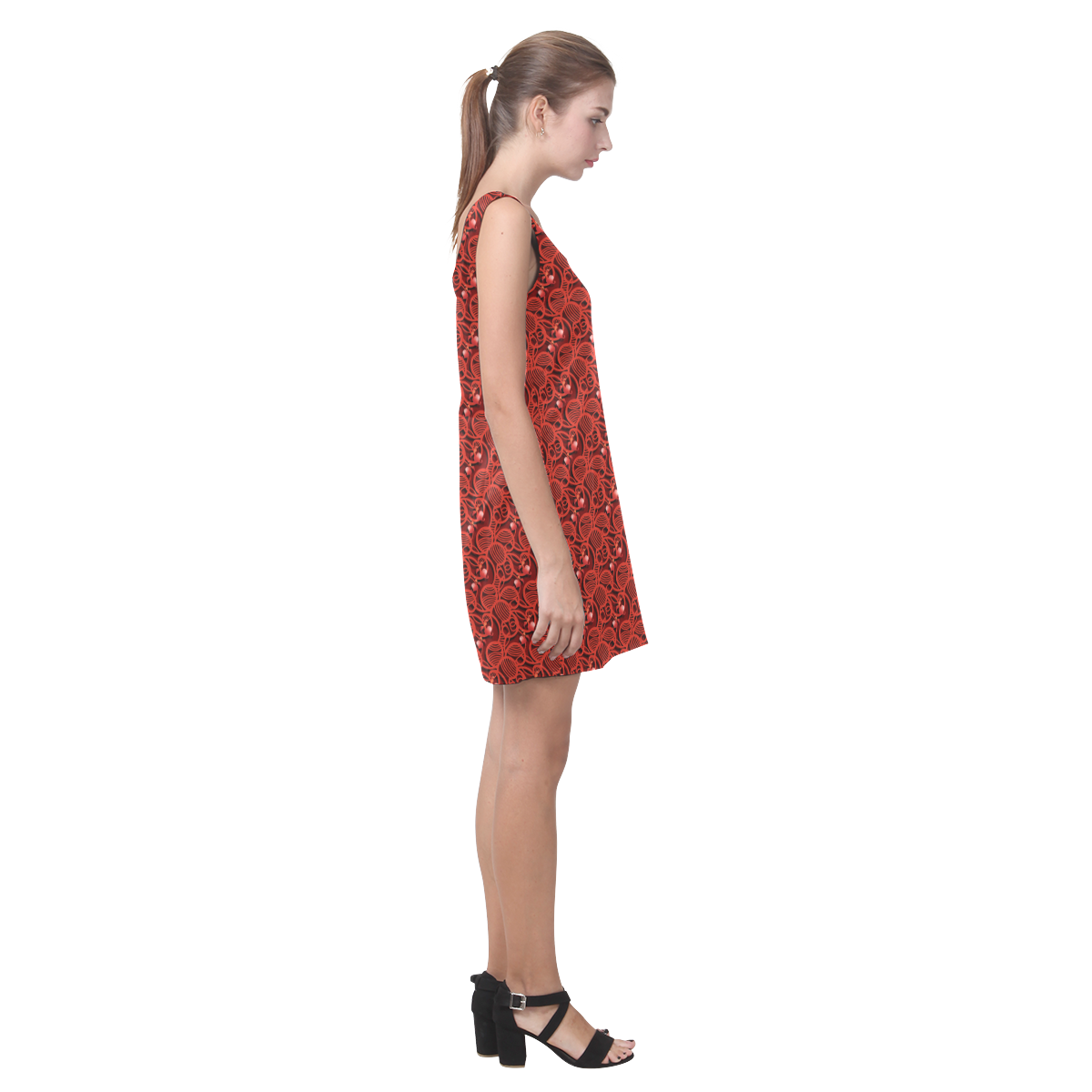 Cherry Tomato Red Hearts Helen Sleeveless Dress (Model D10)