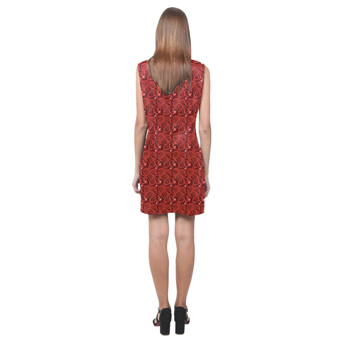 Cherry Tomato Red Hearts Phoebe Sleeveless V-Neck Dress (Model D09)