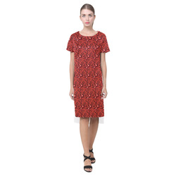 Cherry Tomato Red Hearts Short Sleeves Casual Dress(Model D14)