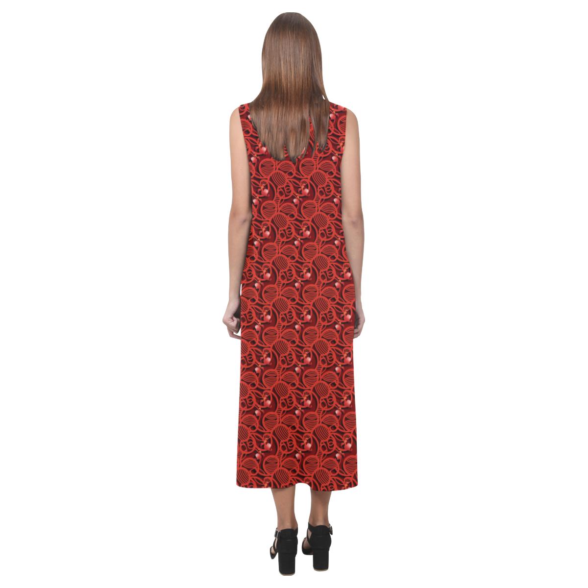 Cherry Tomato Red Hearts Phaedra Sleeveless Open Fork Long Dress (Model D08)