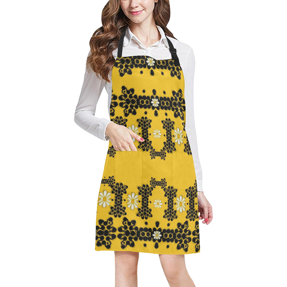 Ornate circulate is festive in flower decorative All Over Print Apron