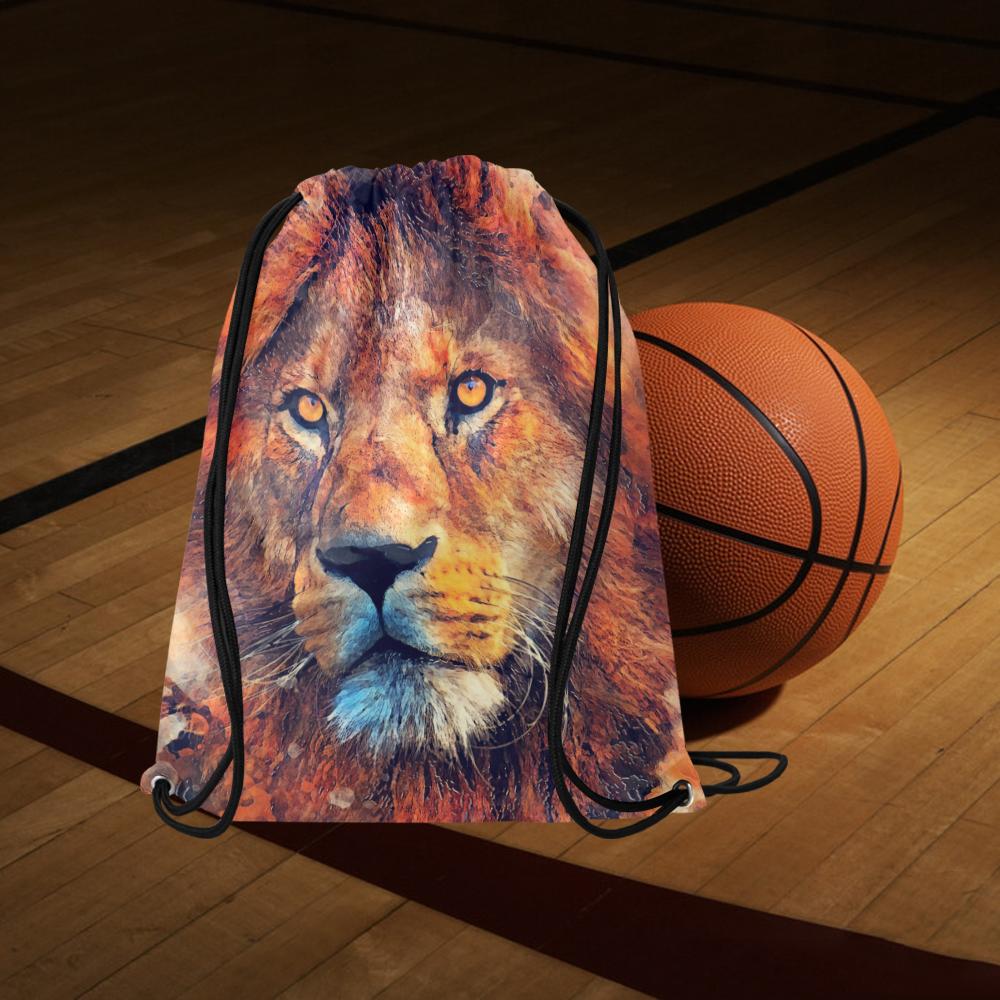 "lion art #lion #animals #cat Large Drawstring Bag Model 1604 (Twin Sides)  16.5""(W) * 19.3""(H)"