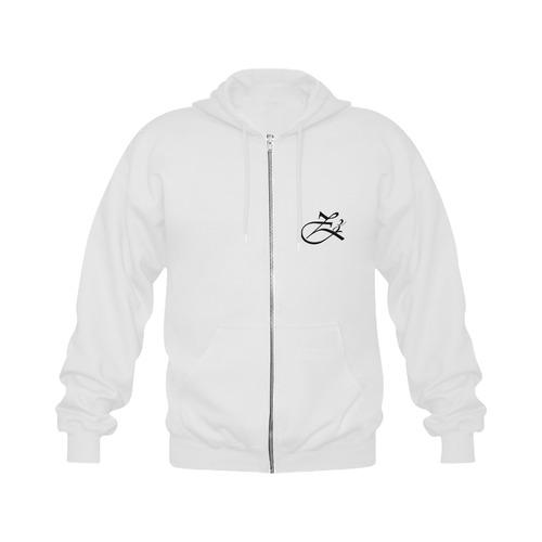 Alphabet Z White Gildan Full Zip Hooded Sweatshirt (Model H02)