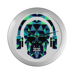 skull DJ clock Silver Color Wall Clock