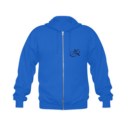 Alphabet Z Blue Gildan Full Zip Hooded Sweatshirt (Model H02)
