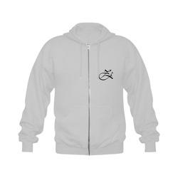 Alphabet Z Grey Gildan Full Zip Hooded Sweatshirt (Model H02)