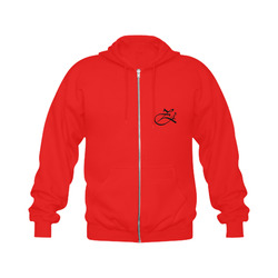 Alphabet Z Red Gildan Full Zip Hooded Sweatshirt (Model H02)