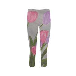Pink and Purple Tulips Capri Legging (Model L02)