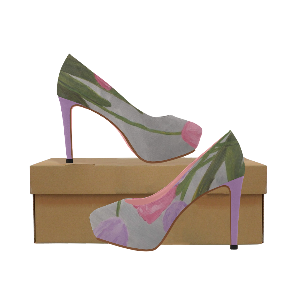 Pink and Purple Tulips Women's High Heels (Model 044)