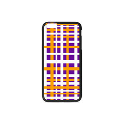 Purple & Orange Interlocking Stripes Rubber Case for iPhone 6/6s Plus