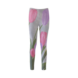 Pink and Purple Tulips Cassandra Women's Leggings (Model L01)